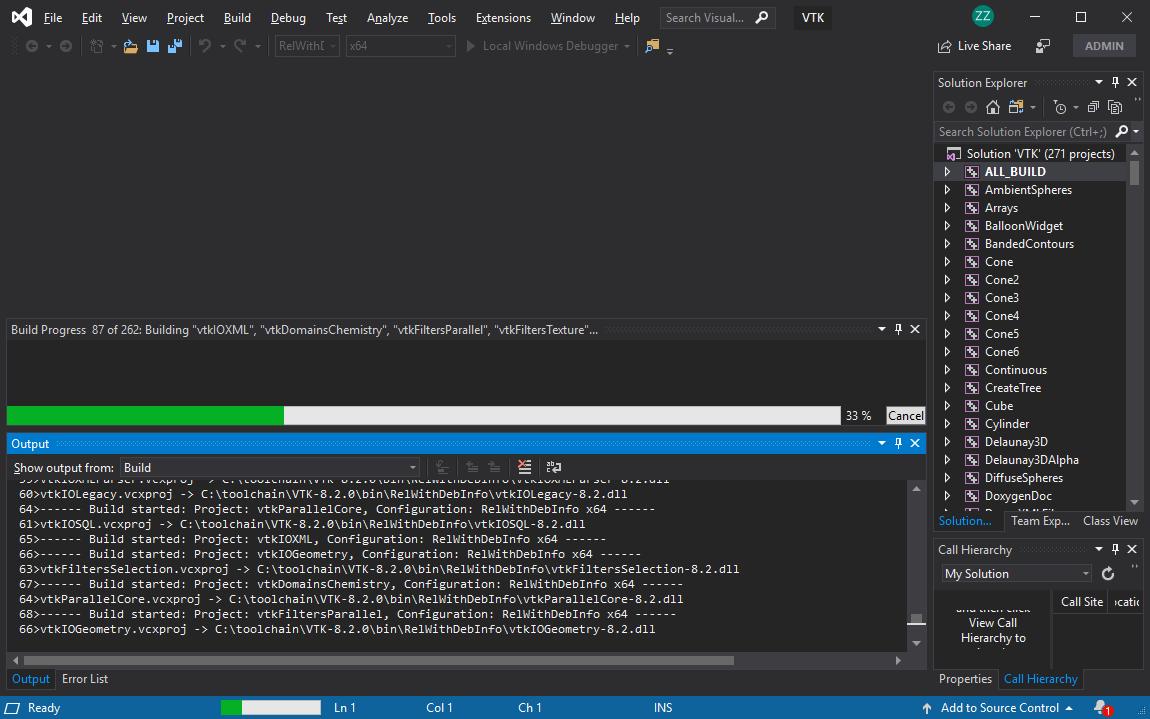 Compile VTK 8 2 0 with Visual Studio 2019 under Windows 10